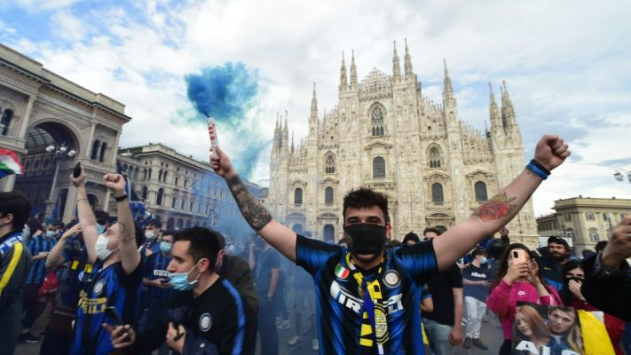 Inter supporters celebrates Italian serie A championship victory