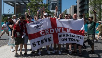 Football Fans Arrive at Wembley Stadium for England vs Croatia Euro 2020 Match in London
